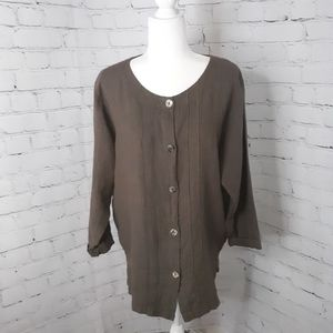 HOT COTTON Women's Brown Linen Button Up Tunic M